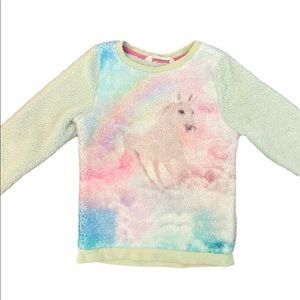 ✨3 for $30✨H&M Girls Fuzzy Unicorn Sweater 4-6yrs